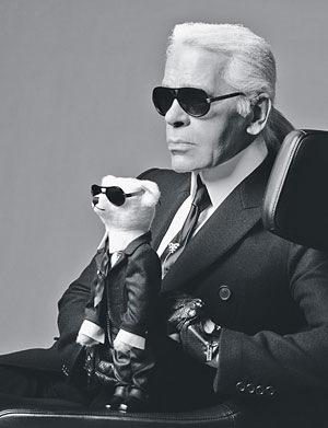 karl lagerfeld with stuffed bear